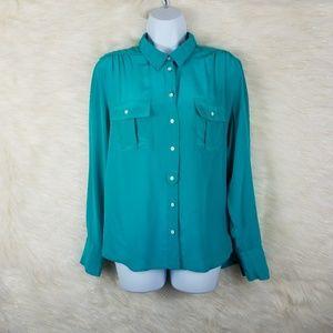 J. Crew 100% silk blouse green size 12